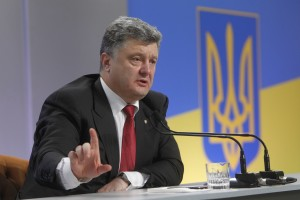 Ukraine's President Petro Poroshenko speaks to the media during a news conference in Kiev